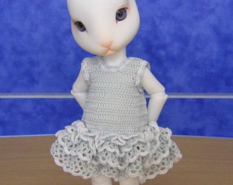 """PDF pattern - crocheted dress for Pipos Curo doll or other 8"""" BJD"""