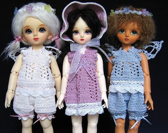 """Doll PDF pattern - crocheted top, bloomers and dress for 10""""/25 cm BJD (Volks YoSD/Bambicrony CB...)"""