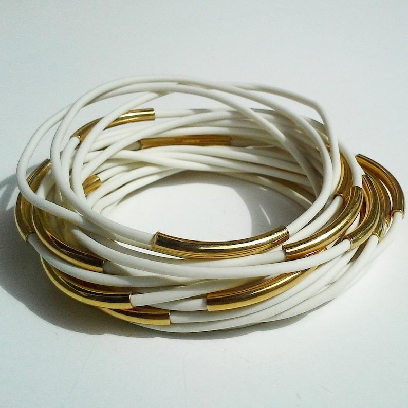 Bangle Bracelets for Women White Rubber 1980s Jewelry