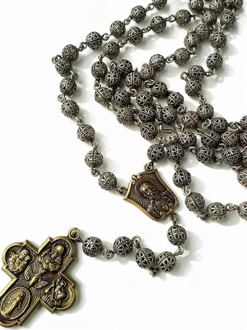 e2ef308a005e9 Cross Necklace Mens - Beaded Rosary - Religious Jewelry for Men Gold or  Silver Cross Pendant