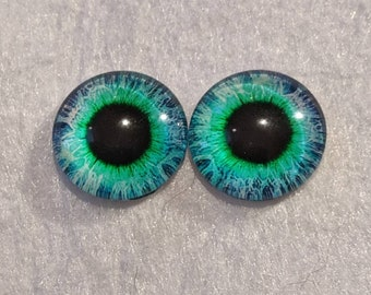 One pair of glass eyes blue and green 16mm, 12mm or 20mm various colours and sizes