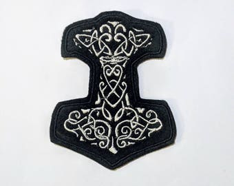 Viking amulet Thor Hammer embroidered patch