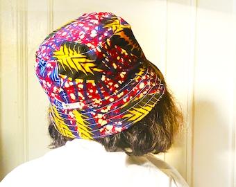 Reversible Bucket hat, Ankara Print and Indigo Linen