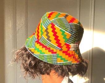 Reversible Bucket hat, Light Denim and Kente Cloth