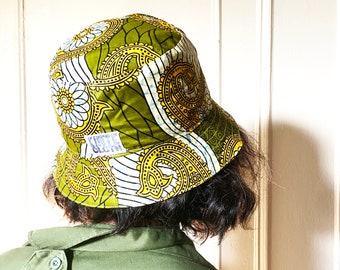 Olive & Kente Reversible Bucket hat.