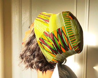 Reversible Bucket hat,Olive and Blue kente
