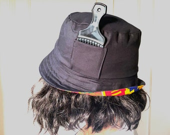 Reversible Bucket hat, Black and Kente with Pocket
