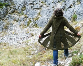 Open Spaces coat - Crochet pattern PDF to make a women's coat with optionnal long hood - Sizes XS to XL