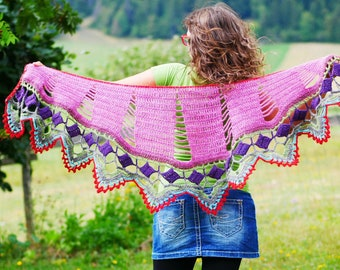 Open Spaces shawl - PDF crochet pattern to make this stunning shawl with lacy edging, with 2 yarn weight options