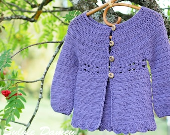 Mini Marguerite cardigan - PDF crochet pattern - Todler and girls sizes with daisy motif - Easy crochet w/ Instant download