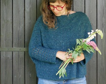 Crochet Pattern to make a Boxy sweater for women, any size & any gauge: SaperliPOPette !
