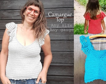 CROCHET top PATTERN for women and girls, Camargue top, in any size using any yarn (PDF)