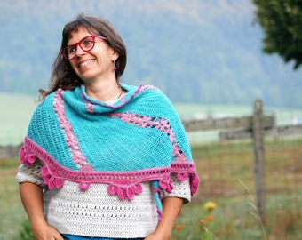Badiane fingering/lace shawl - CROCHET SHAWL PATTERN - can be made either with fingering or lace-weight yarn