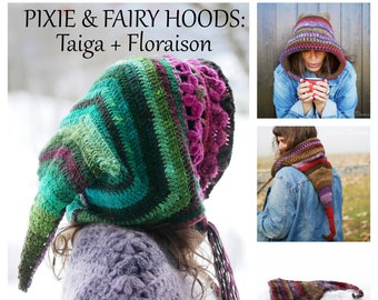 2 CROCHET elf hoods PATTERNS in PDF, pixie fairy hats for adults and kids, instant download