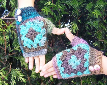 Granny mitts - Crochet pattern PDF for grany square fingerless gloves made with Noro Silk Garden self-striping yarn