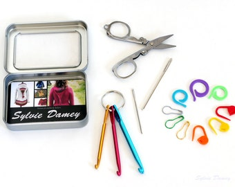 """Cute """"Emergency crafting kit"""": mini crochet hooks, folding scissors, stitch markers and tapestry needles in a tin box"""
