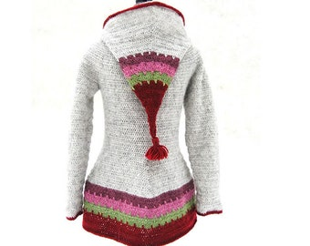 CROCHET hooded pixie coat / jacket PATTERN for women - Loup - Pdf tutorial in french, english, german