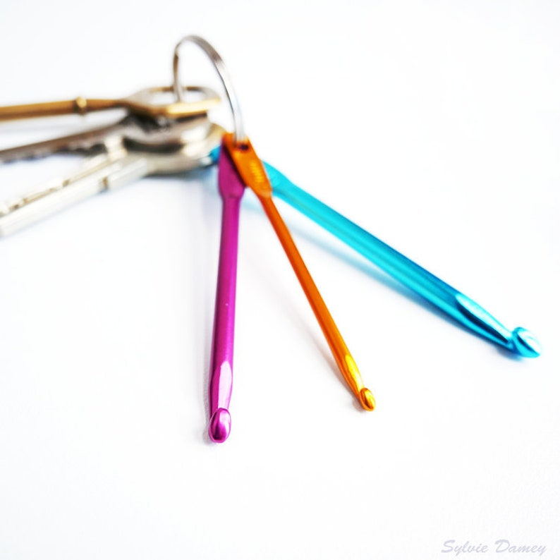 Key Ring With 3 Mini Crochet Hooks Emergency Kit For Etsy
