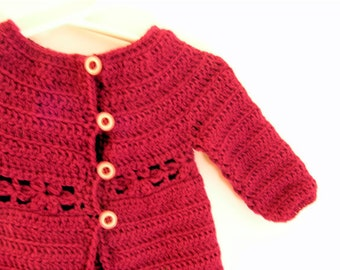 Mini marguerite cardigan - CROCHET PATTERN in pdf format to make toddler girls cardigan