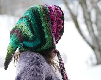 """CROCHET PATTERN, elf fairy hood, """"Floraison"""" pixie hat, crochet  PDF tutorial"""