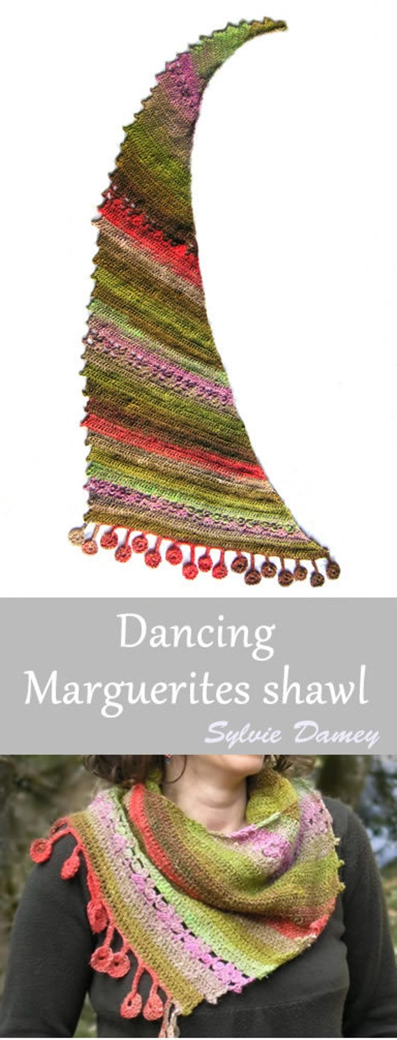 Dancing marguerites Shawl Crochet pattern in pdf Easy | Etsy