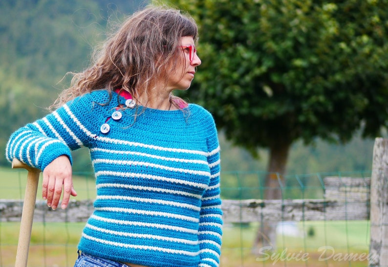 Crochet pattern for women's mariniere sweater  Marin image 0