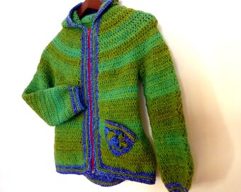 Armel, Crochet PATTERN PDF -  hooded jacket for boys (or girls) with granny square inserts -  2T to 8 year old - Instant download