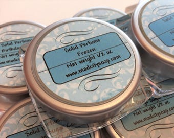 Custom Solid Perfume 1/2 ounce with more than 100 choices. Beeswax perfume. Artisan crafted perfume stick. Vanilla solid perfume.