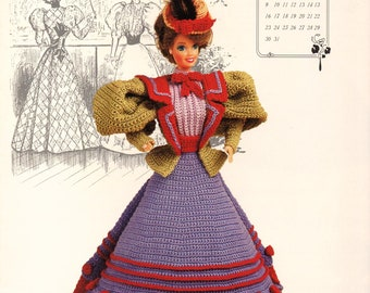 Miss December 1994 Gibson Girl Outfit fits Barbie Doll Crochet Pattern Booklet