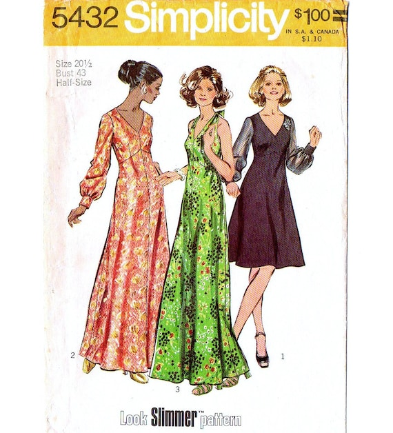 7e5fb2e1b9a Simplicity 5432 Misses Halter Dress 70s Vintage Sewing Pattern