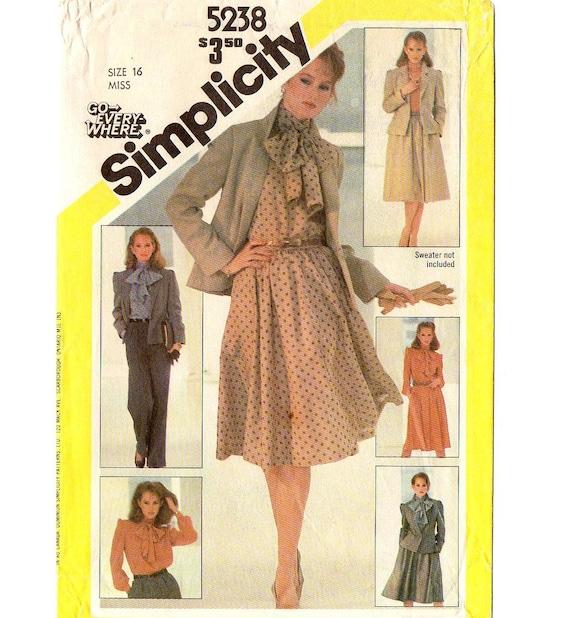 a8e6d18d7 Simplicity 5238 Misses Jacket Blouse Flared Skirt Pants 80s   Etsy