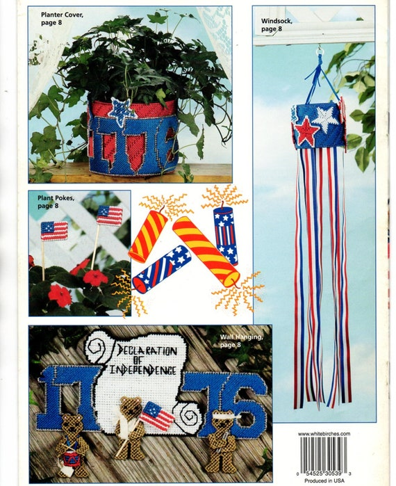 Fourth of July Celebration Plastic Canvas Flags Stars  Firecracker Windsock Plant Pokes Needlepoint Embroidery Craft Pattern Leaflet 186025