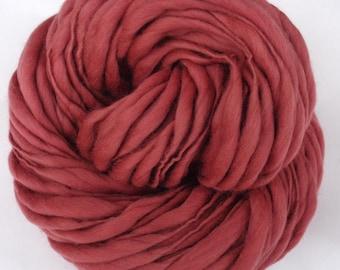 ROSEWOOD handspun thick and thin yarn, super bulky merino slub wool, chunky weaving yarn, doll hair, hairfalls, yarn dreads, 100g/64m, 71yds