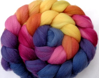 Softest polwarth hand dyed felting wool combed top, roving triple gradient blue pink orange yellow,  20 micron spinning fiber, 3.5oz, 100g