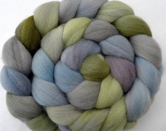 Merino hand dyed spinning fiber in muted light blue grey green, 21 micron combed top for felting, wool for dreads, 3.5oz, 100g