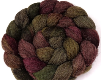 25 micron peruvian hand dyed wool roving for beginners, felting/spinning fiber heathered red green yellow combed top, 3.5oz, 100g, lot no.2