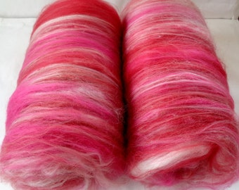Softest pink red white merino wool batts, 20 micron spinning fiber batting, carded nuno felting wool, all the pretty fibers, 3.5oz, 100g