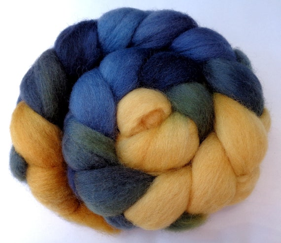 Hand dyed Blue faced leicester combed top