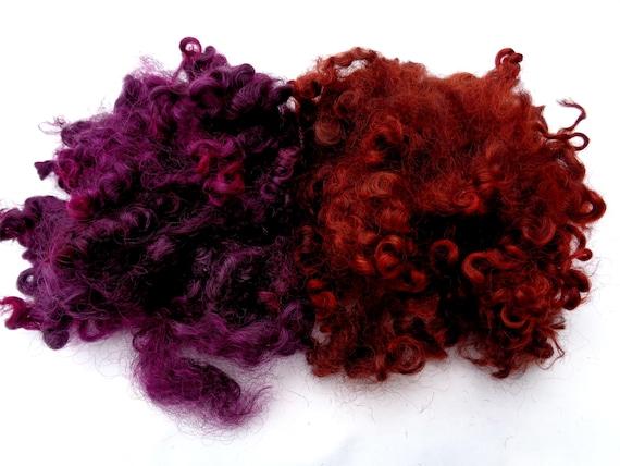 HandDyed Quality Wensleydale Locks curls BURNT ORANGE Dolls hair needle felting