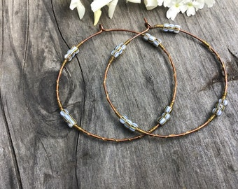 White/Brown/Blue African Chevron Trade Bead Hoops