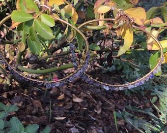 Iolite w/ Brass on Copper Hoops