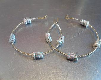 Pink/Blue/White African Chevron hoop earrings
