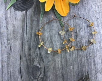 Citrine Copper Hoops