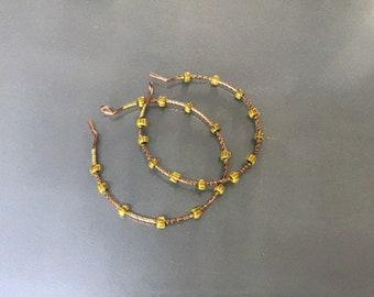 Yellow African Chevron hoop earrings