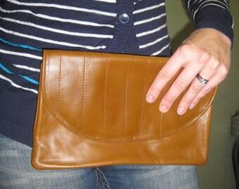 Vintage Leather Clutch- Brown Womens Purse- Brown Vegan Clutch- Womens Crossbody Purse- Optional Shoulder Strap- Womens Accessories