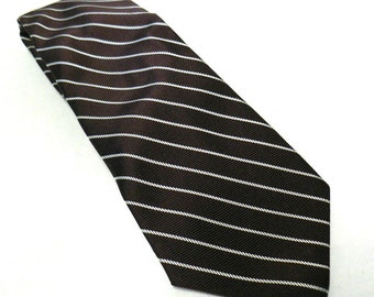 Brown Striped Necktie- Vintage Men's Tie- Mens Silk Tie- Chocolate Brown Tie- Yves Saint Laurent- Mens Formal Wear- Birthday Gift for Him