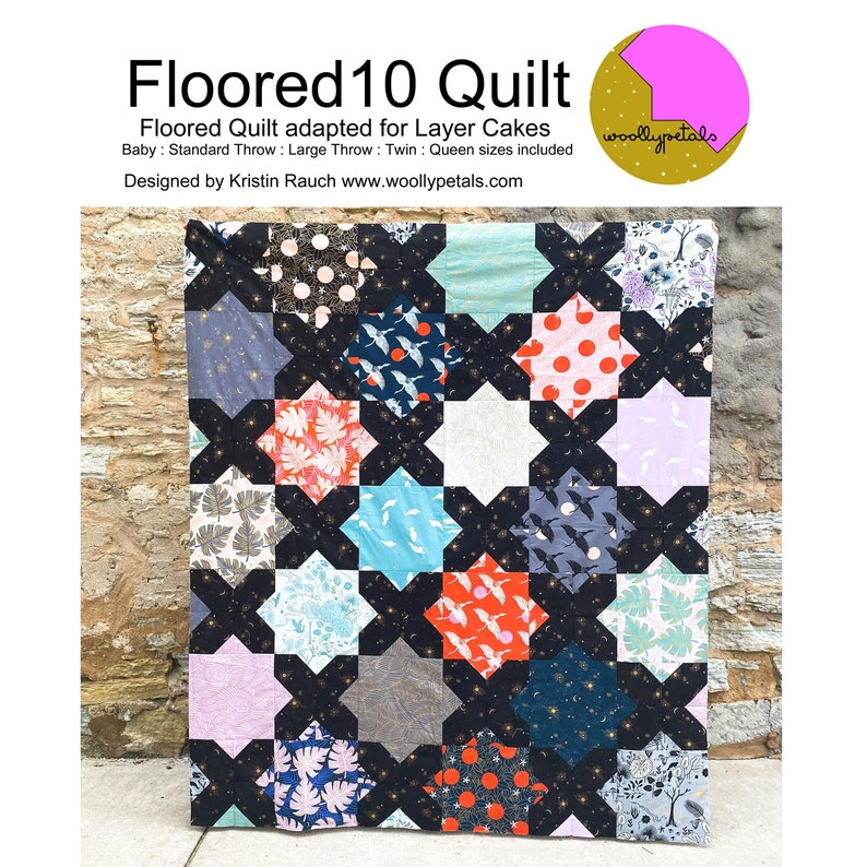 PDF Pattern  Floored10 Quilt Pattern  Layer Cake Friendly  image 1