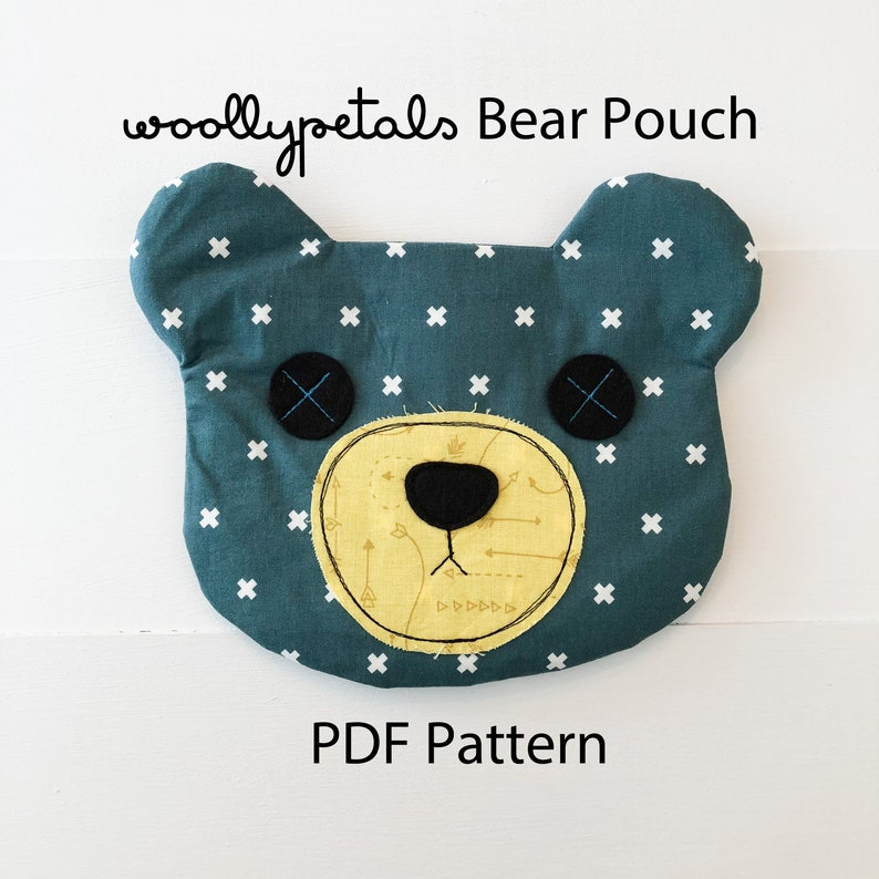 PDF Pattern  Woollypetals Zippered Bear Pouch image 0