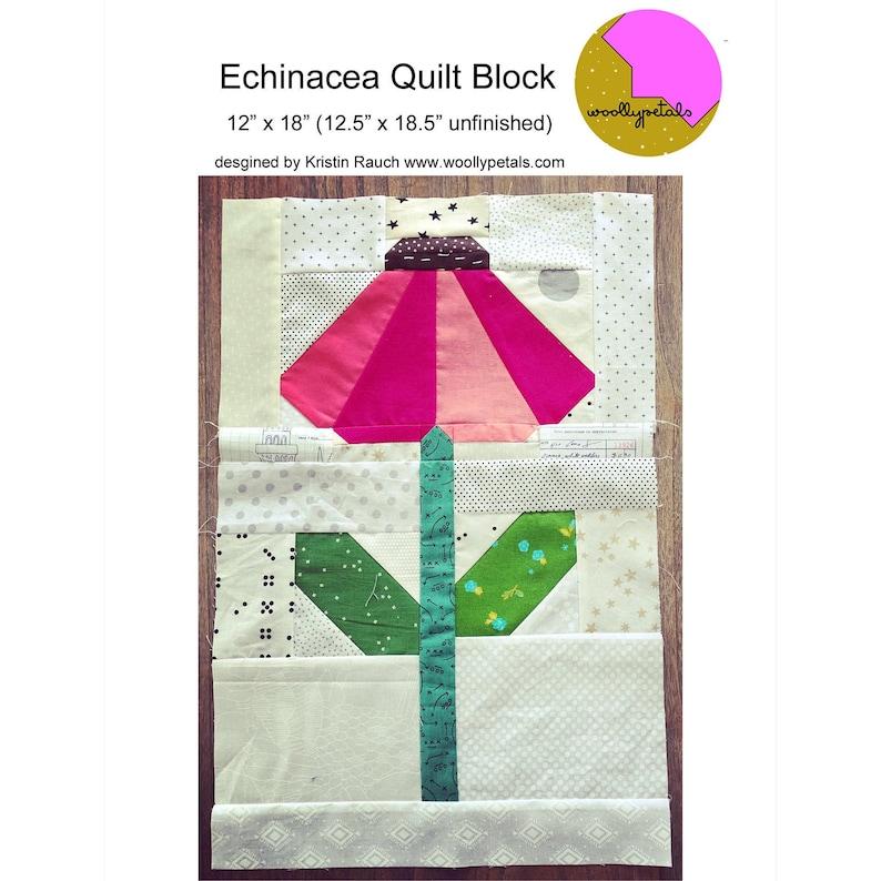 PDF Pattern  Echinacea Quilt Block Pattern  PDF Download image 0