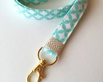 ID badge lanyard , key lanyard , Mint lanyard, fabric lanyard, teachers gift, mint key holder, ID badge lanyard